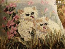 BOHO Vtg NEEDLEPOINT Wool Pillow Cover ~Wildlife Gray CATS KITTEN PINK Flowers