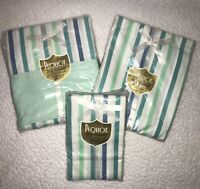 Vintage Pequot Twin Fitted/Top Sheet/Pillow Cases. Blue/Teal Striped. Sealed