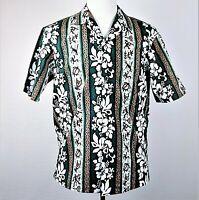 Royal Creations Hawaiian Aloha Shirt Mens Medium Green Tropical Hibiscus Turtles