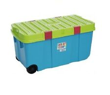 100l almacenaje de plástico caja carrito compra CONTENEDOR CON 2 RUEDAS DE CLIP