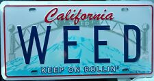 WEED California License Plate Full Size Stamped Aluminum New Sealed City of Weed