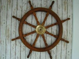36'' Collectible Nautical Wood Ship Wheel Boat Steering Wall Decor ChristmasGift