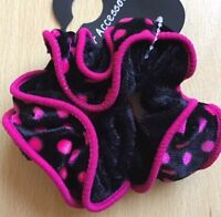 A Black And Pink Spot Velvet Ruffle Scrunchie Ponytail Band / Bobble