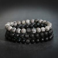 8mm Natural Stone Lava Onyx Landscape Stone Charm Women Men Bracelets Jewelry
