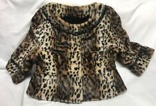 Terry Lewis Classic Luxuries Cropped Top Sleeves Leopard Faux Fur Coat Size M