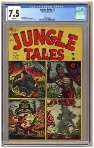 Jungle Tales #2 (CGC 7.5) Tuska art; Atlas; 1954; Only one graded higher! A405