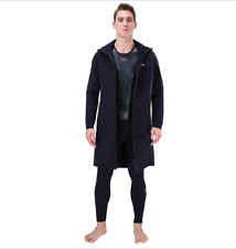 Men 3mm Neoprene Hooded Warm Long Wind Jacket Coat Scuba Snorkeling Diving Coat