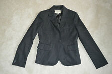 Burberry Black Grey Pinstripe Wool Button Up Blazer Jacket Womens UK 8 US 6