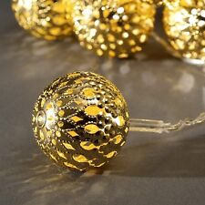 LED light string with 20 golden Metal balls KONSTSMIDE 3158-803