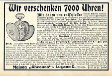 Maison chronos à Lugano C. nous faire cadeau 7000 montres historique annonce 1908