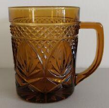 Amber Glass Coffee Mug ~ Marked France on bottom of Molded Tea Cup