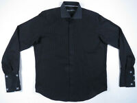 Robert Graham Black Embroidered French Cuff Mens Long Sleeve Shirt L 16 1/2 42