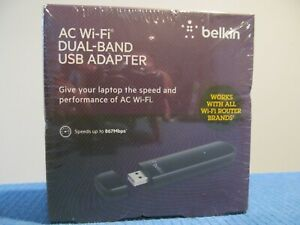 NEW BELKIN VER1000 AC WIFI DUAL BAND USB ADAPTER  867MBPS MULTIPLE DEVICES