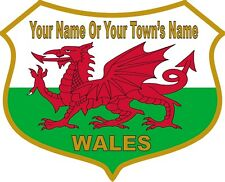 YOUR NAME TOWN PERSONALISED Welsh Dragon Flag Vinyl Stickers Wales Cymru Decals