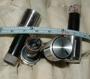 5 vintage aluminium finish knob for 1/4 inch with flat recessed shaft 12 mm dia