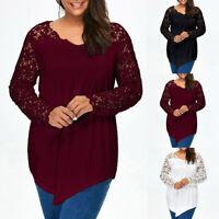 Women Plus Size Lace Applique Long Sleeves Lace-up Irregular Hem Tops Blouse