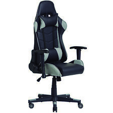 Sillon Giratorio GAMING color Gris y Negro Reposabrazo Reposacabeza Cojin Lum...