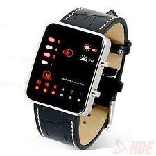 New Digital Red LED Sport Wrist Watch Binary Wristwatch PU Leather Women Mens