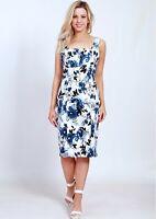 Teaberry Blue Black Floral Pleated Pencil Sheath Dress Size 8 10 12 14 16