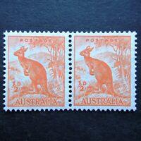 Australia 1937 - 1946 Stamps MNH Wmk Pair Orange Kangaroo Watermarked Perf. 13 1