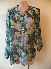 Avella blue green print top size 24 long sleeves