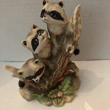 Vintage Raccoon Family Ceramic Homco Figurine Woodland Tree Log Ceramic 1433