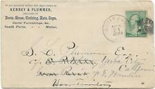 1889 South Paris, ME. Forwarded Advertising Cover