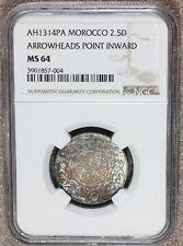 AH1314 PA (1896) Morocco 2 1/2 2.5 Dirhams Silver Coin - NGC MS 64 - Y# 11.2