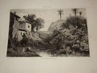 A. BALFOURIER 1816-1876 Gravure VALLDEMOSSA MAJORCA BALEARES GEORGE SAND CHOPIN