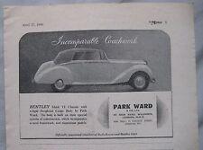 1949 Parkward Bentley Mk VI Drophead Original advert No.2