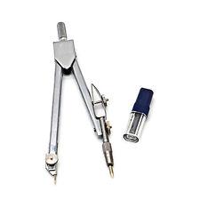 School Stationery Drawing Tool Silver Tone Metal Drafting Compasses Set LT
