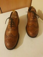 GRENSON STANLEY CLASSIC CALF LEATHER  BROGUE TAN SHOES SIZE UK 10.5 G RRP £250