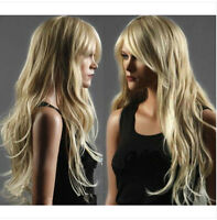 New Womens Wig Long Western Natural Healthy Hair Wave Curly Blonde Wigs+WIG CAP