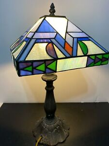 Vintage NICE Geometric Art Deco Iridescent Slag Glass Table Lamp