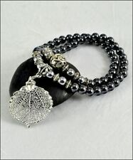 Real Leaf Metal Filigree Double Wrap Bracelet Silver Aspen Leaf Hematite Beads