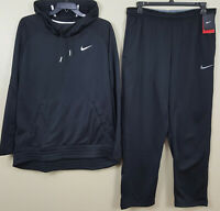 NIKE THERMA-FIT SWEATSUIT HOODIE + PANTS OUTFIT SET BLACK GREY NEW (SIZE XL)