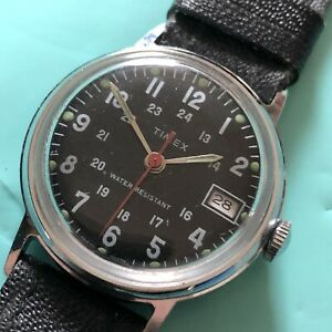 VINTAGE MILITARY TIMEX Watch 1974 DATE WORKING Mechanical Wristwatch Manual Wind