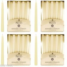 200 x Prices Wax Candles Tapered Large Dinner Candle Ivory Unscented 10""