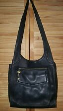 FOSSIL HOBO LEATHER BRASS MESSENGER SHOULDER BAG BLACK 75082 XL Vintage