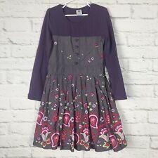 Pumpkin Patch Girls Dress 9 Purple Paisley Long Sleeves Heart Buttons Side Zip