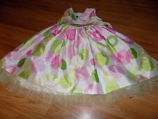 Girl's Size 4 Marmellata White Green Pink Large Polka Dot Easter Dress EUC