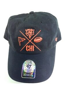 Womens '47 Brand Chicago Bears One Size Black Adjustable NFL Football Hat Cap