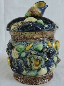 Tobacco humidor French majolica Palissy  with Shells Snake Frog Ecrevisse