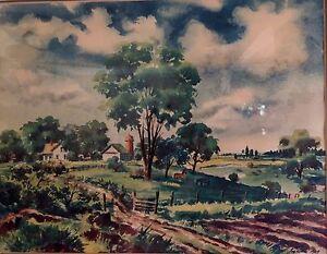 Farmhouse Horse Scene Watercolor Print Joe Feher 1949
