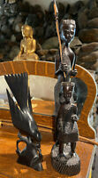 Authentic Hand Carved AFRICAN Ebony Wood Tribal Statue FATHER & SON, Plus Bonus