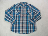 Levis Pearl Snap Shirt Adult 2XL XXL Blue Orange Plaid Long Sleeve Cowboy Mens