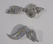 Brooches, Lot of 2 Silver Christmas Crystal Bow