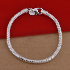 Wholesale Fashion Alloy Stlyish Silver 3MM Snake Bone Chain Bracelets Jewelry