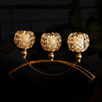 3 Arm Crystal Hollow Votive Tea Light Candle Holders Candelabra Wedding Party