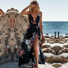 Women Summer Backless Floral Printed Split Sexy Deep V-Neck Dress Boho